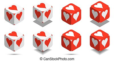 Cube with card heart in red and white colors, vector icon of playing heart