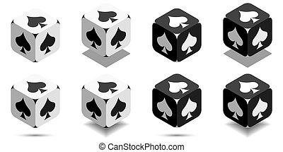 Cube with card spade in black and white colors, vector icon of playing spade