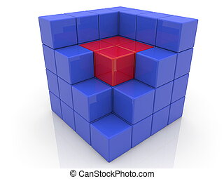 Cube with core in red color.3d illustration.