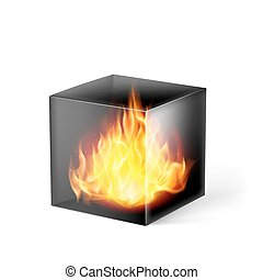 Cube with fire flames
