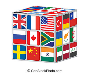 cube with flags of the world vector illustration