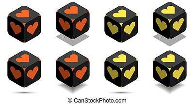 Cube with heart in orange and yellow colors