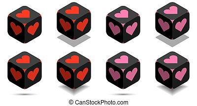 Cube with heart in red and pink colors
