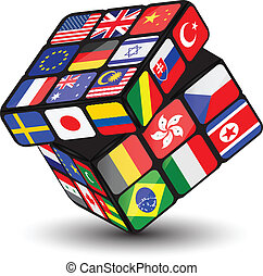 Cube with national flags.Vector