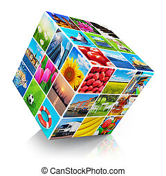 Cube with photo collection - Cube with colorful photo...