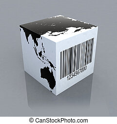 cube with world map and barcode
