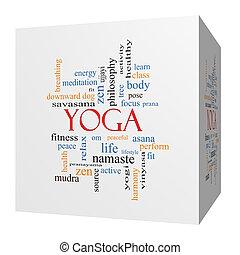 cube, yoga, concept, mot, nuage, 3d