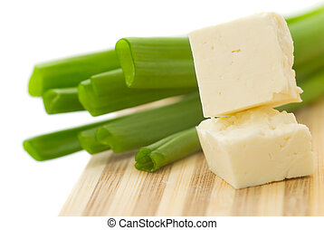 Cubed cheese with green onion