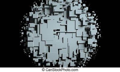 cubes, écran, transition, essuyer, animation, noir, alpha, channel.3d, blanc