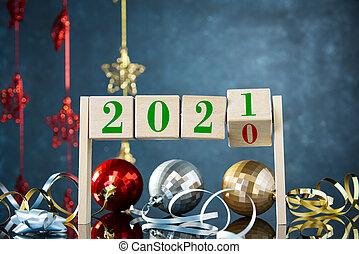 cubes, 1, remplace, fond, nombres, 2021, noël, quatre, nombre, décorations, 0
