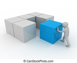 cubes, 3d, homme