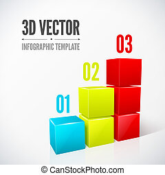 Cubes 3D infographics modern design layout.