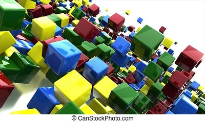 Cubes all colors rainbow fast jumping on white background. 3D-animation of rectangular objects