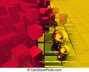 Cubes and balls on a yellow and red