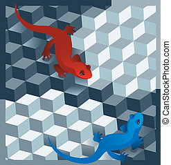 cubes and salamanders.eps  - is an illustration in eps file