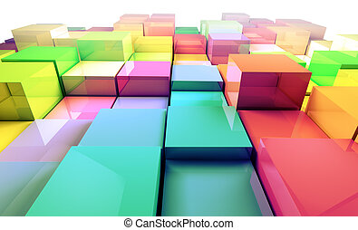 cubes, arrière-plan coloré, 3d