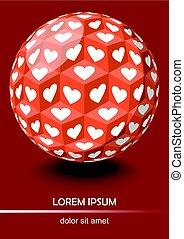 cubes, art, sphère, optique, fond, cœurs, blanc rouge, style