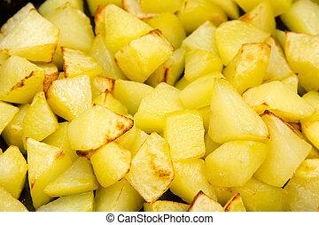 cubes, au-dessus, vues, pommes terre, rôti, fin