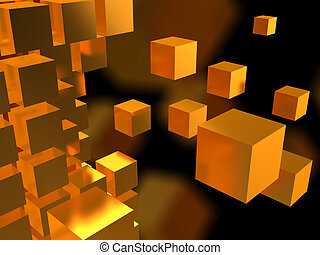 cubes background - abstract 3d illustration of yellow cubes ...