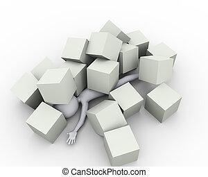cubes, boîtes, sous, couvert, homme, 3d