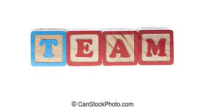 cubes, bois, isolé, écrit, lettre, équipe