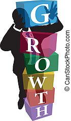 cubes, business, haut, personne, croissance, pile
