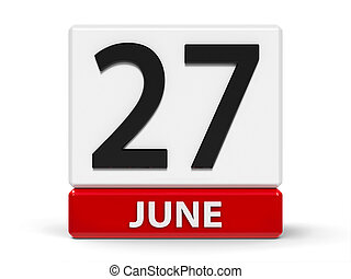 Cubes calendar 27th June - Red and white calendar icon from...