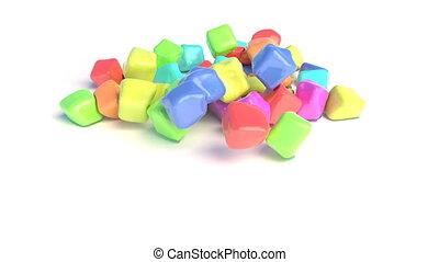 cubes, caoutchouc, blanc, surface., coloré, automne, sur