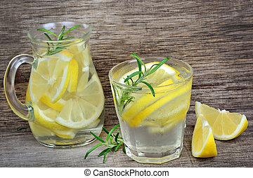 cubes, citron, cruche, eau glace, verre, romarin