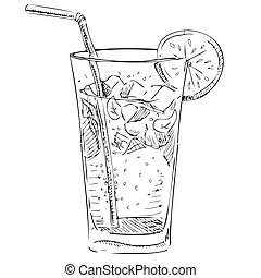 cubes, citrus, glace, verre, soude, segment