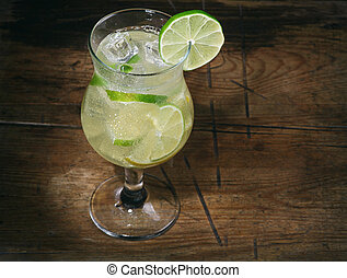 cubes, cocktail, citron, glace, chaux, gin