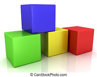 cubes, coloré, 3d