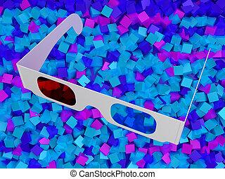 cubes, coloré, cinéma, moderne, lunettes, 3d