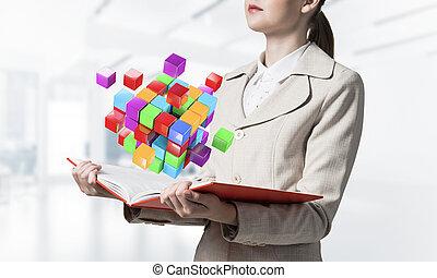 cubes, coloré, projection, femme, géométrique, 3d
