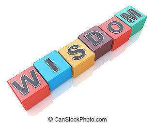 cubes, concept, mot, coloré, sagesse