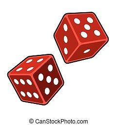 cubes, dés, arrière-plan., vecteur, blanc rouge