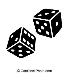 cubes, dés, deux, arrière-plan., vecteur, noir, blanc