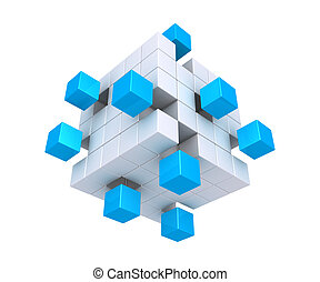 3d cubes are detached from square object made of cubes