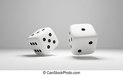 cubes dice two white dices 3D Rendering