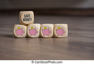 Cubes dice with piggy banks and save money
