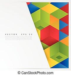 cubes., elvont, geometriai, vektor, alakít