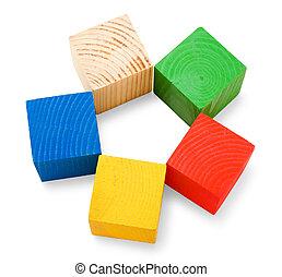 cubes, empilé, coloré, bois, forme, fleur