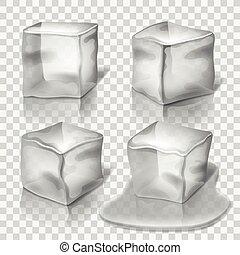 cubes, ensemble, colorless, glace, vecteur, transparent