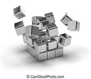 Cubes Exploding - Metallic cubes exploding on white...