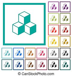 Cubes flat color icons with quadrant frames