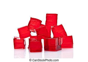 cubes, fond, gelée, blanc rouge