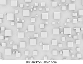 cubes, fond, ombre, 3d