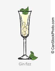 cubes, gin, basé, alcool, cocktail, pétiller, cocktail, jaune, menthe, feuille, glace, digestif.