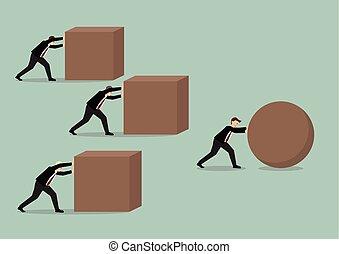 cubes, groupe, mener, pousser, contre, sphère, course, hommes affaires, homme affaires