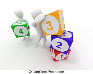 cubes., homens, números